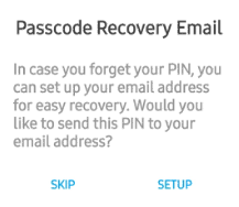 Passcode recovery email